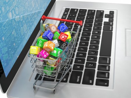 Shopping cart with icons