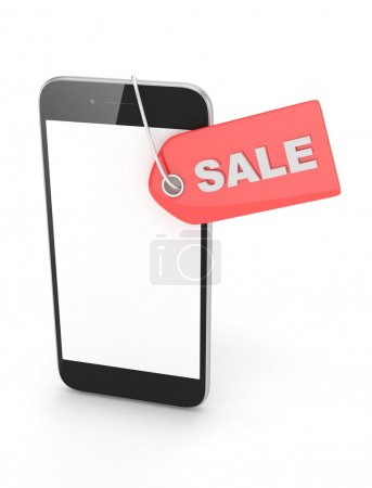 smartphone with sale label