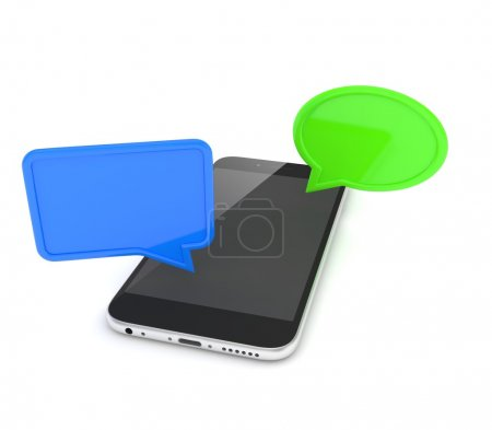 smartphone with colorful speech bubbles