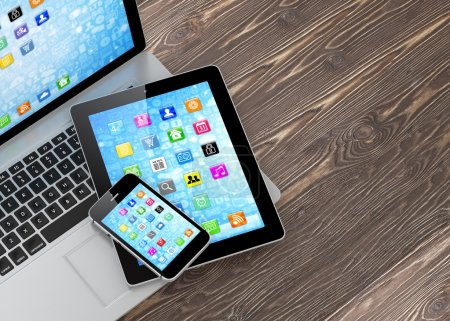 Laptop, phone and tablet pc