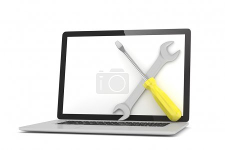 3D Wrench and screwdriver on laptop
