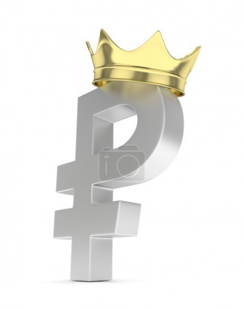 ruble sign with crown