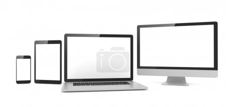 Photo for Ultimate web design, laptop, smartphone, tablet, computer, display - Royalty Free Image