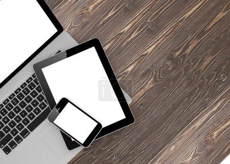 Photo pour Illustration 3D de l'ordinateur portable, téléphone et tablette PC - image libre de droit