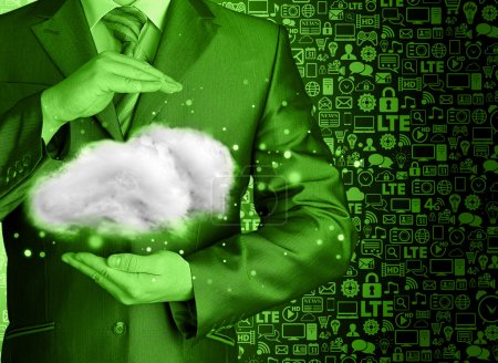 Photo for Cloud computing concept, close up of young businessman with cloud over his hand - Royalty Free Image