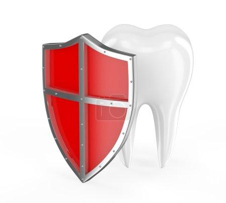 Zahn mit Metallschild