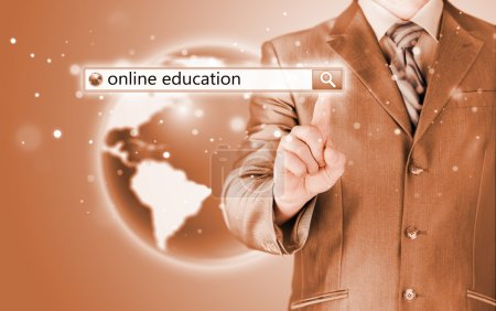 Photo for Online education written in search bar on virtual screen. - Royalty Free Image