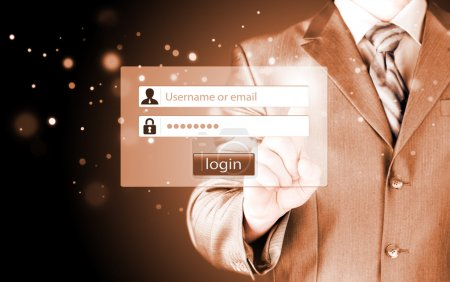 Businessman entering login
