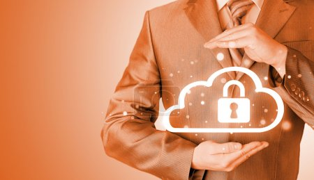 Photo for Protect cloud information data concept. Security and safety of cloud computing. - Royalty Free Image