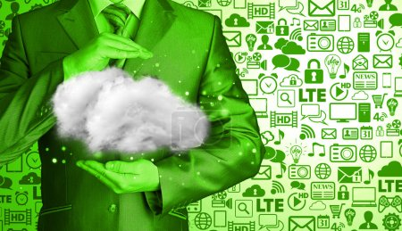 Photo for Cloud computing concept, close up of young businessman with cloud over his hands - Royalty Free Image