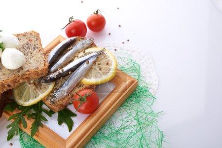 Sardines on sliced bread