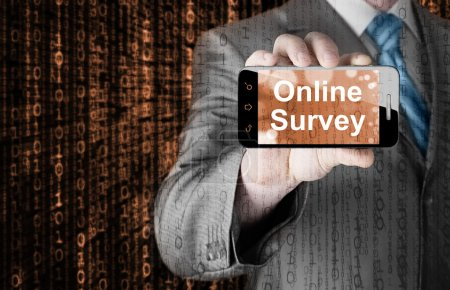 Photo for Businessman showing Online Survey on smartphone - Royalty Free Image