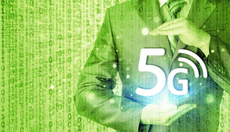 Businessman holding in hands 5G