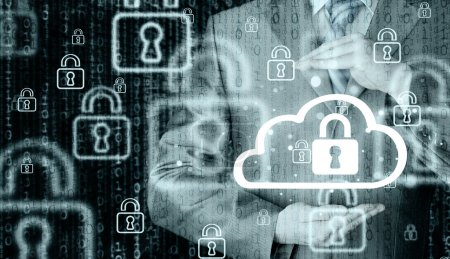 Photo for Protecting cloud information with hands of businessman - Royalty Free Image