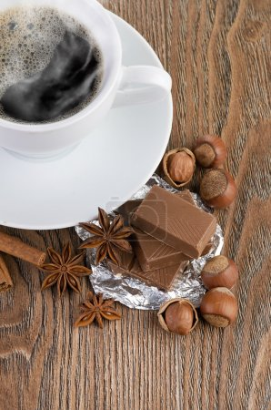 coffee with chocolate and nuts
