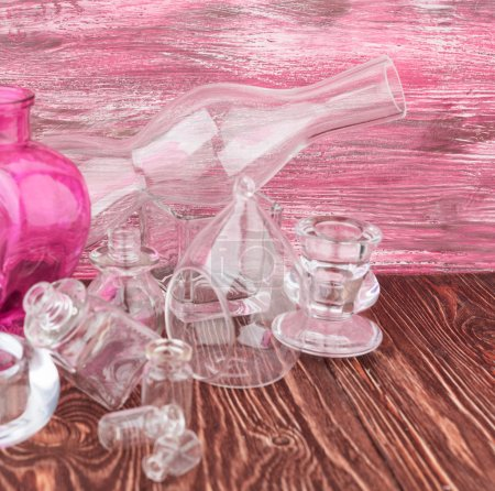 Photo for Glass vases on wooden background - Royalty Free Image