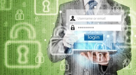 Businessman typing login