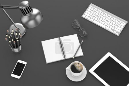 Photo pour Illustration en vue du dessus des tablettes et des objets de bureau sur le lieu de travail - image libre de droit