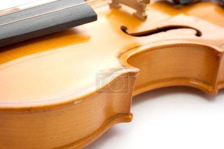 Foto de Violín clásico marrón sobre fondo blanco - Imagen libre de derechos