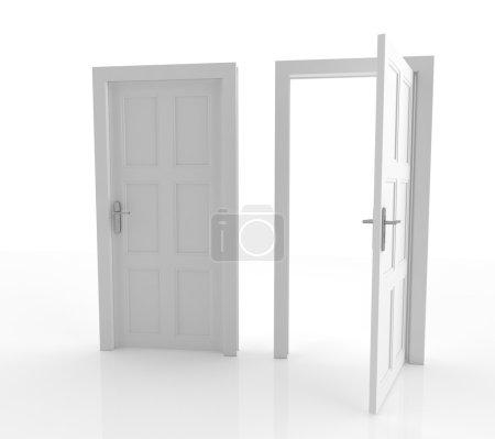 Photo pour Illustration 3D de portes fermées et ouvertes isolées - image libre de droit