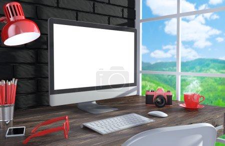 PC screen near the window