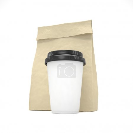 Photo for Coffee to go and lunch bag on white background - Royalty Free Image