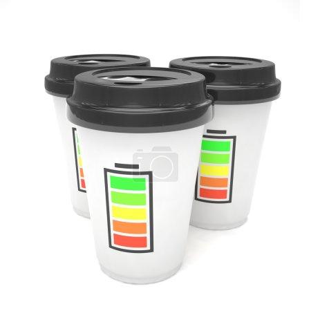 Photo pour Café 3D aller tasses sur fond blanc - image libre de droit