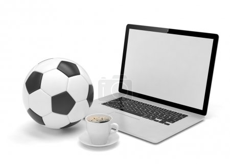 laptop and soccer football ball