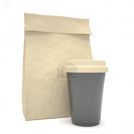 Photo pour Café pour aller déjeuner sac sur fond blanc - image libre de droit