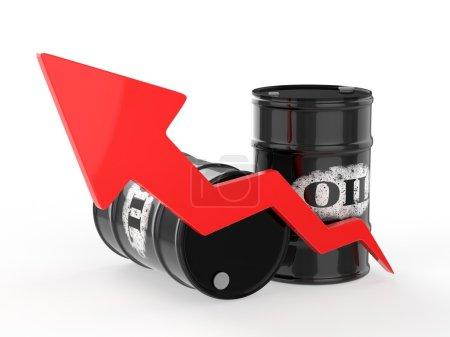 Photo pour Barils de pétrole avec flèche rouge vers le haut sur fond blanc - image libre de droit