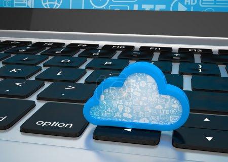 Photo pour Ordinateur portable avec symbole de cloud computing sur clavier, rendu 3d - image libre de droit