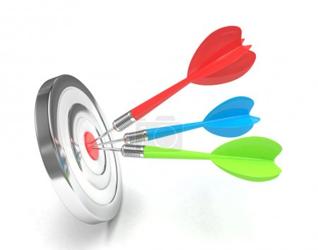 Photo for 3d darts in target on white background - Royalty Free Image