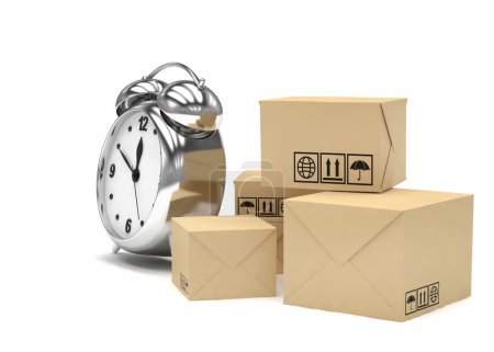 Packages and alarm clock