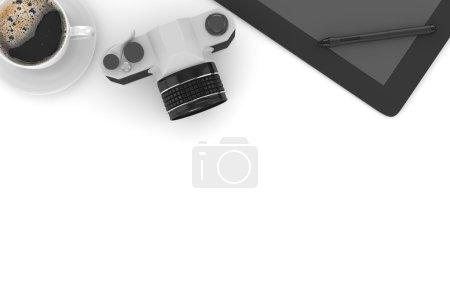 camera, coffee, tablet pc