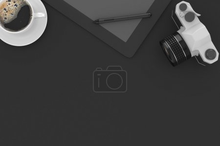 camera and coffee on table