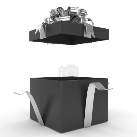 Photo for Black open gift box with silveribbon on white background - Royalty Free Image