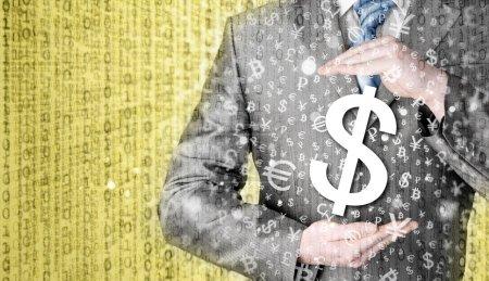 Businessman protecting dollar
