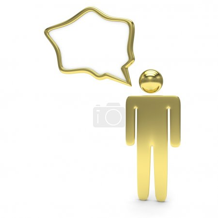 Photo for 3d figure with golden speech bubble isolated over a white background - Royalty Free Image