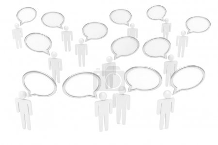 Photo for People figures with speech bubbles isolated over white background - Royalty Free Image