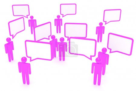 people figures with speech bubbles