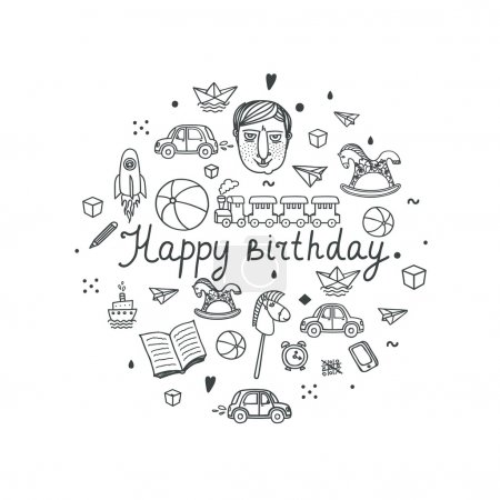 Happy Birthday greeting card - vector illustration.