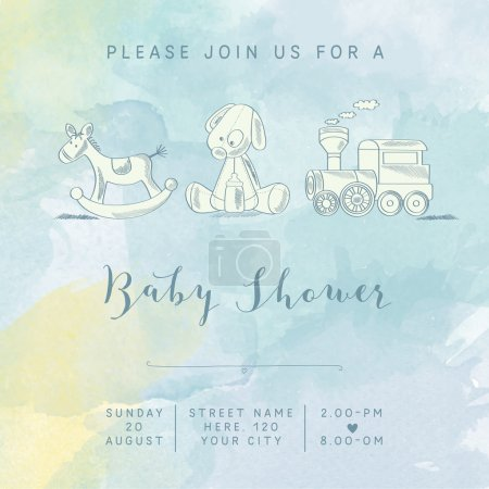 Watercolor baby boy shower card with retro toys, v...