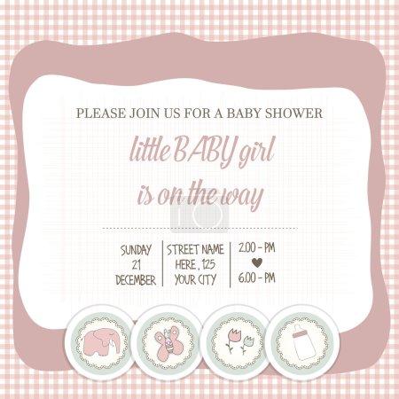 Baby girl shower card, vector illustration...