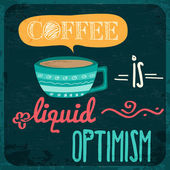 Retro background with coffee quote vector format