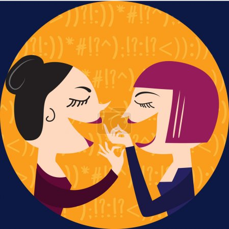 Illustration for Gossiping Women, illustration in vector format - Royalty Free Image