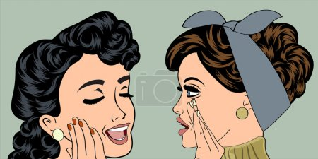 Illustration for Pop art retro women in comics style that gossip, vector illustration - Royalty Free Image