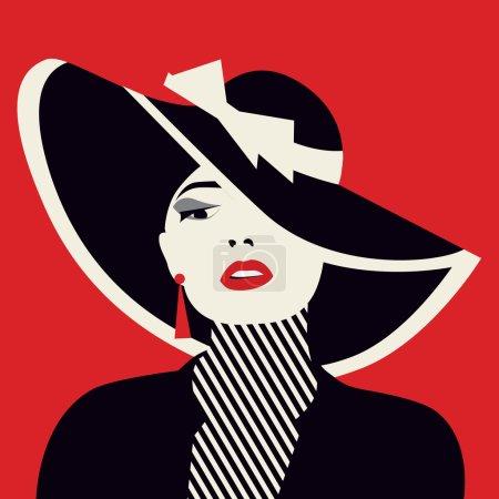 Illustration pour Stylisée femme sexy avec hutte, illustration vectorielle - image libre de droit