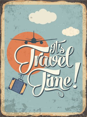 """Illustration for Retro metal sign """"it's travel time"""", eps10 vector format - Royalty Free Image"""