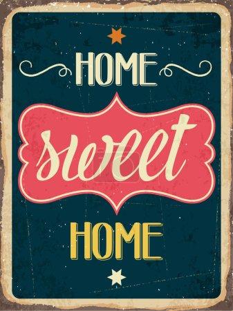 Illustration pour Panneau métallique rétro « Home, sweet home », format vectoriel eps10 - image libre de droit