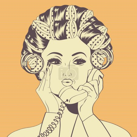 Illustration for Woman with curlers in their hair talking at phone,  vector format - Royalty Free Image
